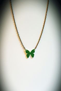 Green Small Butterfly Shrink Plastic Necklace by CorrenAlyssa on Etsy