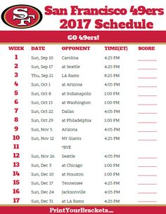 2017 San Francisco 49ers Football Schedule