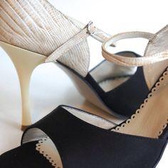 www.felinashoes.com Argentine Tango Shoes from NeoTango shoes. Leather shoes. Cream stilettos. Black satin and cream engraved leather. Sizes 4 (34), Size 5 (35), Size 6 (36), Size 7 (37), Size 8 (38), Size 9 (39), Size 10 (40), Size 11 (41)