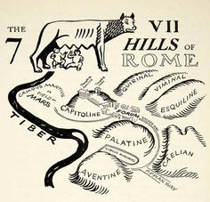 The seven hills of Rome, with the She-wolf and Romulus and Remus.