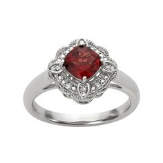 60% OFF The Simply Vera, Vera Wang Sterling Silver Garnet & Diamond Accent Ring #verawang #garnet #diamond #ring #sale #save