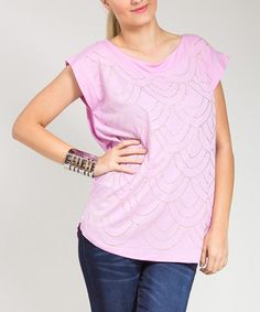 Loving this Lilac Scallop Cap-Sleeve Top - Plus on #zulily! #zulilyfinds