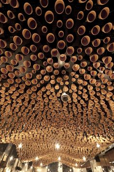 Gazi Restaurant, Melbourne: 4000 terracotta pots suspended on steel rods by March Studios