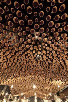 Gazi Restaurant, Melbourne: 4000 terracotta pots suspended on steel rods by March Studios