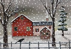Winter-Homestead-5x7-inch-Canvas-Panel-ORIG-PAINTING-PRIM-FOLK-ART-Karla-G