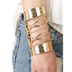 $6.29 Cut Out Twisted Chain Crisscross Long Cuff Bracelet - Golden