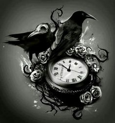 Raven and pocket watch