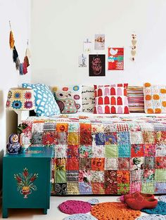 Colourful crochet and patchwork quilt. I am far too obsessed with anything colourful and patchwork. Girls Bedroom, Bedroom Decor, Bedrooms, Granny Chic Decor, Deco Retro, Painted Chest, Deco Boheme, Boho Home, Bohemian Decor