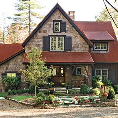 If that was Grey Shaker Shingles instead of Stone, with Dark Brown Siding and a Rust-Color Roof