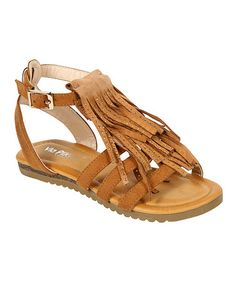 Look at this #zulilyfind! Tan Layered Fringe Gladiator Sandal #zulilyfinds