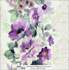 William's Water Color Flower Damask Wall Paper  [WAT-39922] Water Colors Wall Paper | DesignerWallcoverings.com | Luxury Wallpaper | @DW_LosAngeles | #Custom #Wallpaper #Wallcovering #Interiors