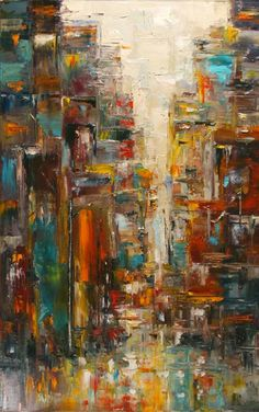 "Cityscape Art, Rainy City, Abstract Street Scene ""Territory #2"" by Texas Artist Debra Hurd-36""x24"" Sold-Commissions Welcome!!"