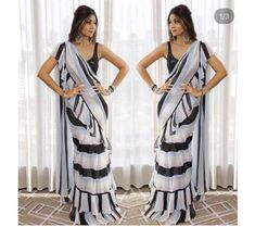 41e0916275 Shop - shop womens fashion wear fp black and white strip bollywood stylist ruffle  saree
