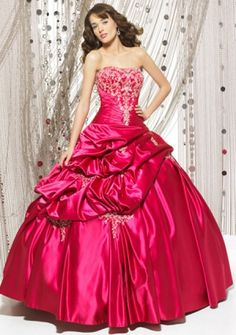 Ball Gown Strapless Floor-length Satin Quinceanera Dresses