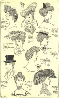 1900 - 1910  The Mode in Hats and Headdress: A Historical Survey with 198 Plates  By R. Turner Wilcox