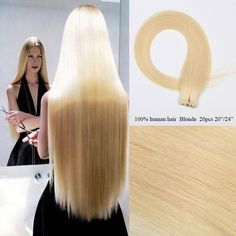 Blonde Straight Remy Tape In Human Hair Extension Real Human Hair Weft 20pcs #Unbranded #StraightBundle