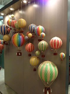 At kids store, baby store, fire balloon, hot air balloon, balloon sh Air Ballon, Hot Air Balloon, Balloon Balloon, Balloon Shop, Balloon Backdrop, Spring Window Display, Store Window Displays, Decoration Vitrine, Diy And Crafts
