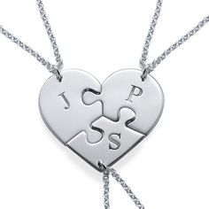 Do you have more than one BFF? If so, a regular breakable heart just wont do! But we have something that will work, the <b>Puzzle Piece Necklace for Three with Initial</b>! This puzzle piece necklace actually breaks into three best friend necklaces! You can get any initial you want on each individual puzzle piece.