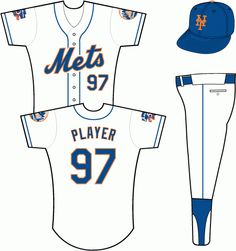5a7438a2d New York Mets Home Uniform (1997) - Mets scripted in blue with an orange
