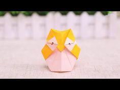 How to make an Origami Animal: Cute owl - DIY Projects Origami Rose, Origami Ball, Diy Origami, Origami Owl Games, Chat Origami, Origami Simple, Origami Owl Charms, Origami Owl Lockets, Useful Origami