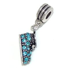 Baby Shoe Charm Dangle w/ Blue Stones