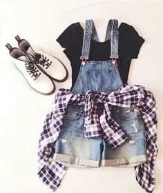 18 Awesome Grunge Outfits Ideas for Women To Try This Season -- Overall shorts w., Summer Outfits, 18 Awesome Grunge Outfits Ideas for Women To Try This Season -- Overall shorts with a flannel Source by Teen Fashion Outfits, Mode Outfits, Cute Fashion, Look Fashion, Trendy Fashion, Fall Outfits, Hipster Outfits For Teens, Tween Fashion, Fashion Clothes