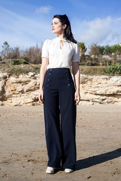 Dessin moi un patron pants SAILOR PANTS High waisted swing trousers by  LaVieEnSwing da61fa6715c0
