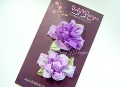 TWO Purple Baby girl snap clips/ Infant Clips / Baby Bow in shades of lavender by Baby K Designs