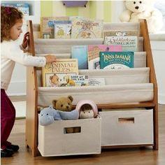Kidsu0027 Sling Bookshelf With Storage Bins   Natural Natural
