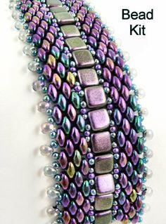 Kit - Purple Iris Well-Traveled Superduo and 2-hole Tile Bracelet