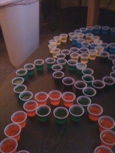 Olympic rings Jell-O shots, a really cool idea maybe for our beer Olympics @ Meghan Sinback @ Shannon Colucci
