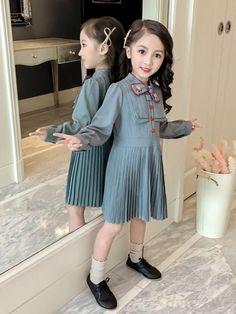 ff179776d0236 Doresuwe 可愛い韓国風ポロカラー長袖蝶々結び プリーツプリンセス系子供服キッズファッション女の子