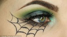 Final look: Georgia's spider web eyeshadow look is ideal for when you don't have a costume and need to think of something quick