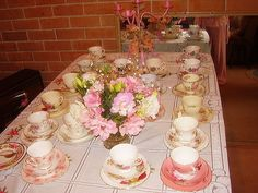 Pretty Pink Shabby Chic baby shower table setting party by Rachael Mermaid Queen, via Flickr