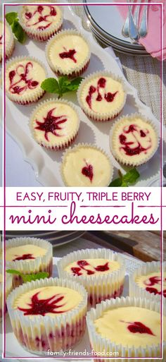 Triple berry cheesecakes - Fruity berry cheesecake topped by a plain cheesecake layer, & decorated with berry syrup swirls. These cute & easy individual cheesecakes are just divine! #spring #summer #summerfood #cheesecake #cake #baking #dessert #easyrecipe