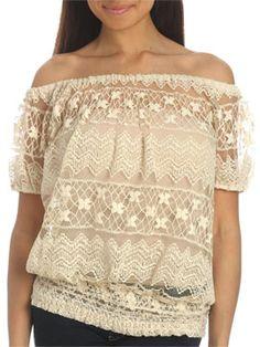 Crochet Lace Peasant Top - Arden B