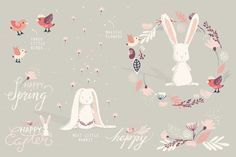 The Happy Little Spring Collection by Lisa Glanz on @creativemarket