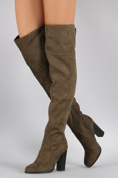 Qupid Suede Slit Chunky Heeled Over-The-Knee Boots