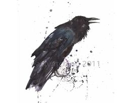 Raven art, RAVEN, Gift For The Poe Officianado, cabin, raven painting