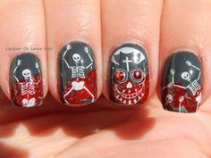 Dia De Los Muertos Nail art by Lacquer Or Leave Her