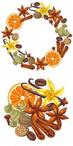 Designs with various spices. Illustration of anise, cloves, vanilla, ginger and cinnamon. Food Logo Design, Logo Food, Spice Image, Fruit Sketch, Ginger And Cinnamon, Cartoon Logo, Food Backgrounds, Jar Crafts, Logo Design Inspiration
