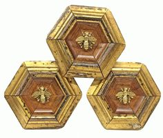 Museum Bee Collection by Trace Mayer. Made with Antique American Frames and Gilt Brass Ormolu Bees.