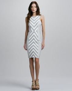 Milly Striped Dress by Milly at Neiman Marcus.  LOVE THIS.  The chevron focused on the waist would flatter anyone.