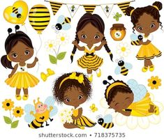 TheCreativeMill - Clipart, vector and digital papers by TheCreativeMill Clipart Chica, Bee Clipart, Girl Clipart, American Girl Dress, African American Girl, American Girls, Cartoon Bee, Girls Clips, Paris Girl