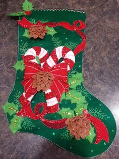 Bucilla Stocking - Candy Cane and Christmas Greenery