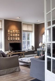 deepest shades of greige, taupe and grey living room