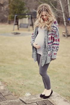 Stripe shirt and patterned chunky sweater