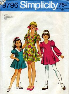 1970s Dress Patterns - my mom always made dresses for my sister and me