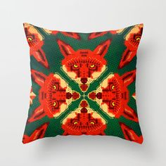 Fox Cross Geometric Pattern Throw Pillow