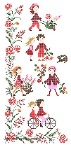 <b>Red Poppy Banner</b><br>cross stitch pattern<br>by <b>Perrette Samouiloff</b>